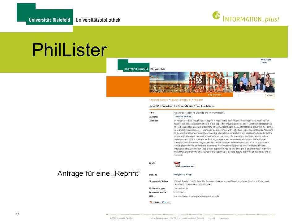 """PhilLister Anfrage für eine """"Reprint"""