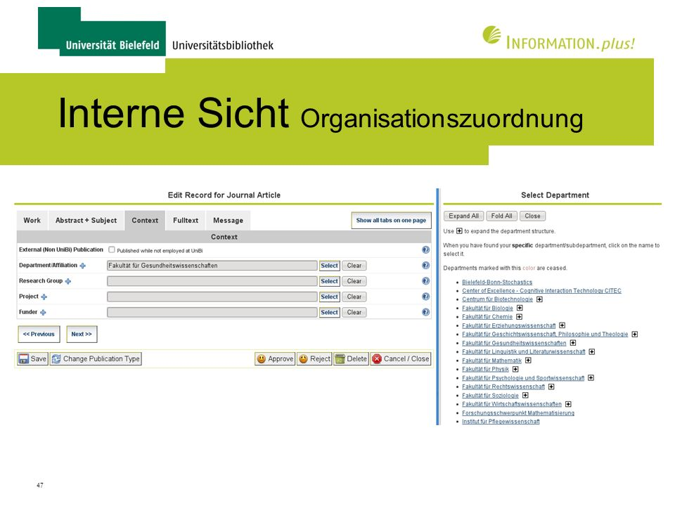 Interne Sicht Organisationszuordnung