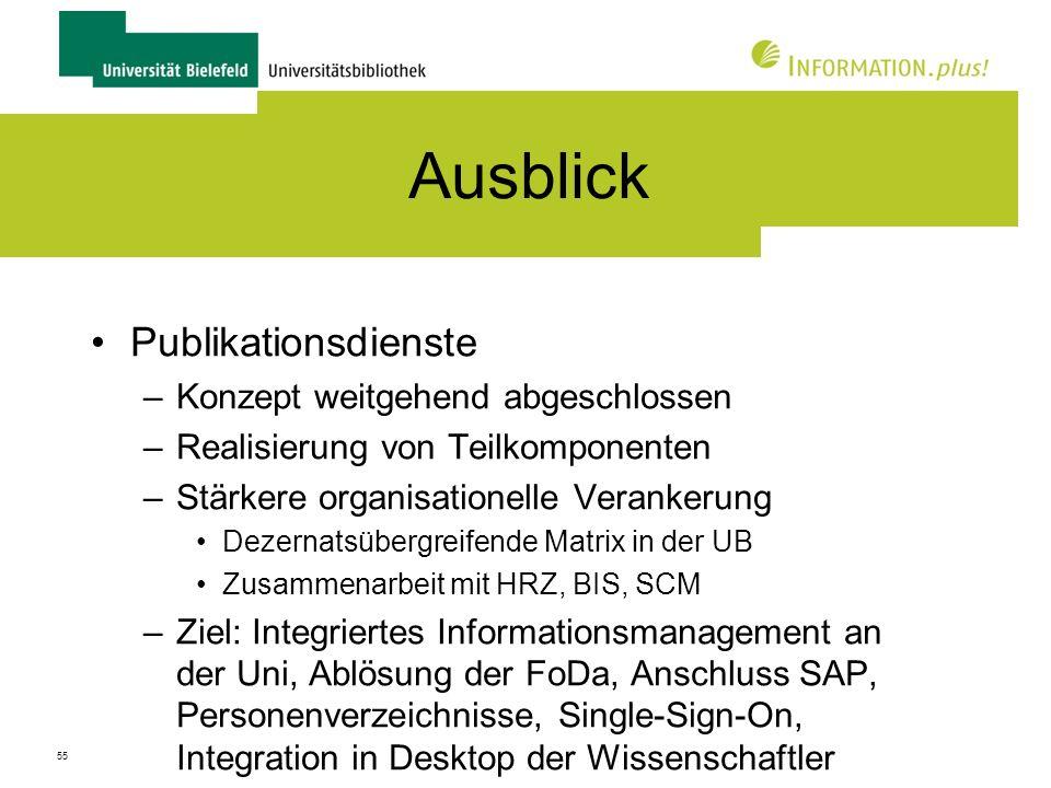 Ausblick Publikationsdienste Konzept weitgehend abgeschlossen
