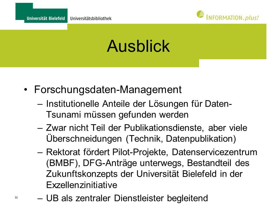 Ausblick Forschungsdaten-Management