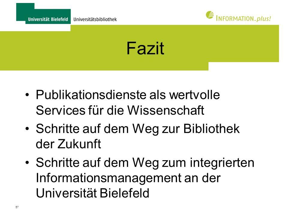 Fazit Publikationsdienste als wertvolle Services für die Wissenschaft