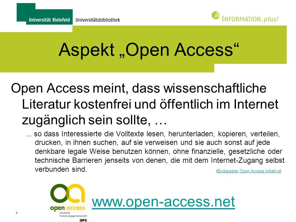 """Aspekt """"Open Access www.open-access.net"""