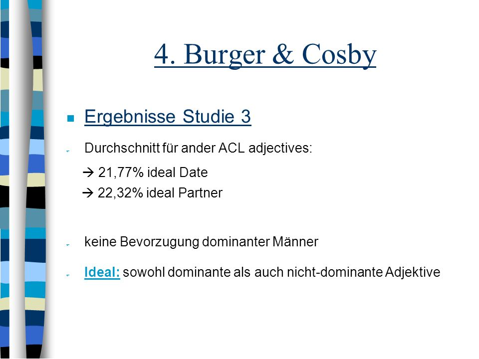 4. Burger & Cosby Ergebnisse Studie 3  21,77% ideal Date