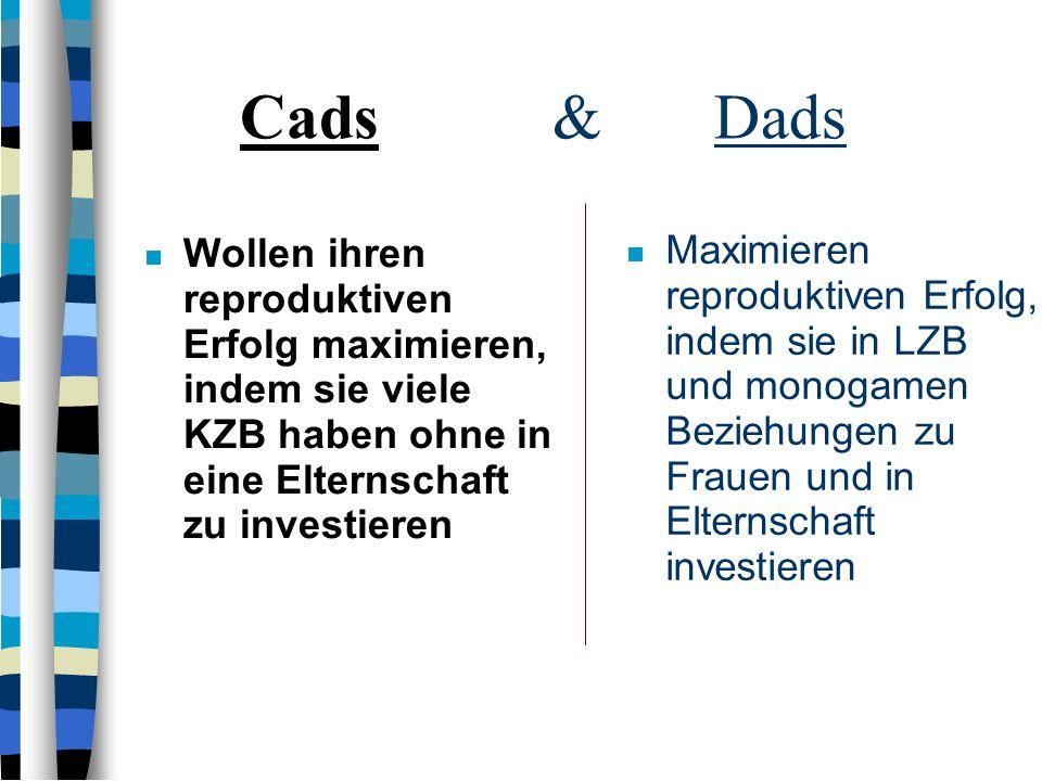 Cads & DadsWollen ihren reproduktiven Erfolg maximieren, indem sie viele KZB haben ohne in eine Elternschaft zu investieren.