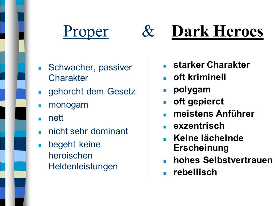 Proper & Dark Heroes starker Charakter Schwacher, passiver Charakter