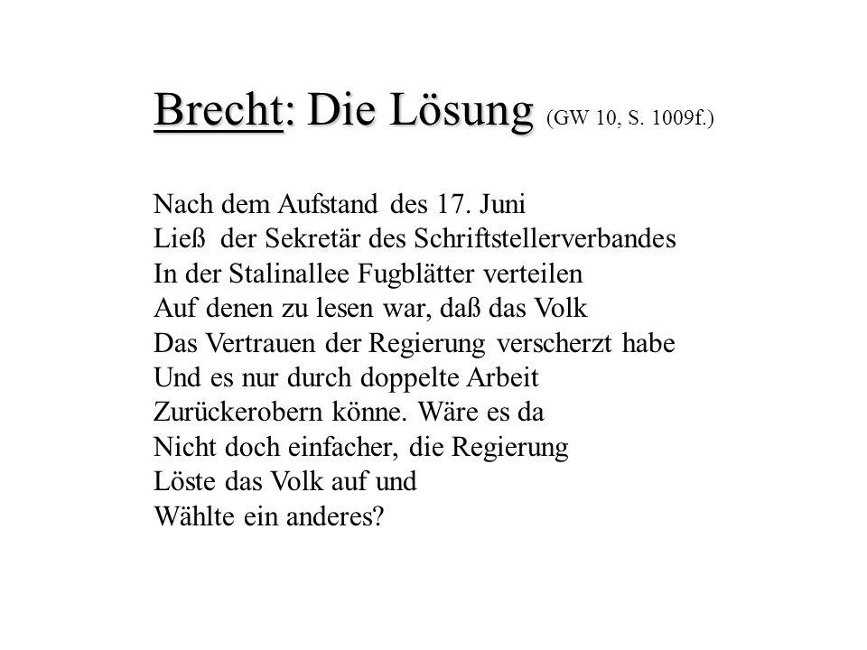 Brecht: Die Lösung (GW 10, S. 1009f.)