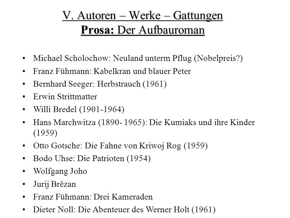 V. Autoren – Werke – Gattungen Prosa: Der Aufbauroman