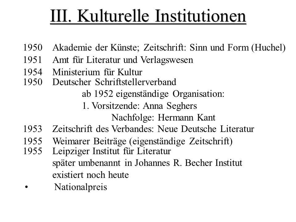 III. Kulturelle Institutionen