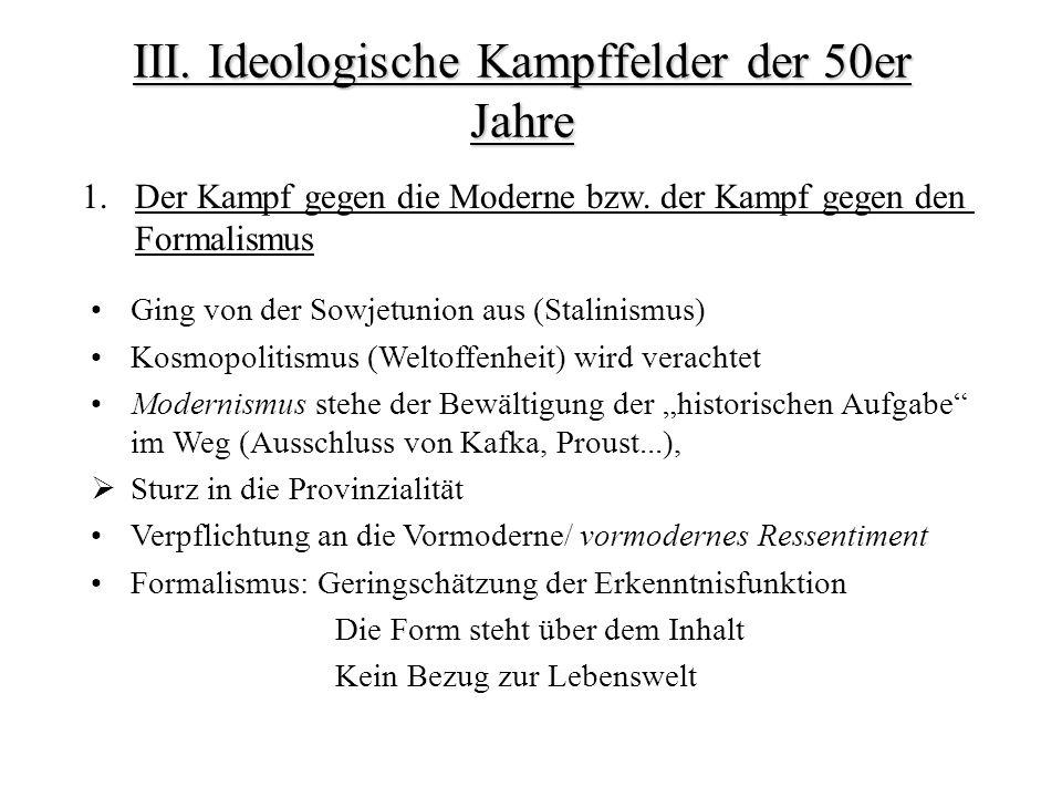 III. Ideologische Kampffelder der 50er Jahre