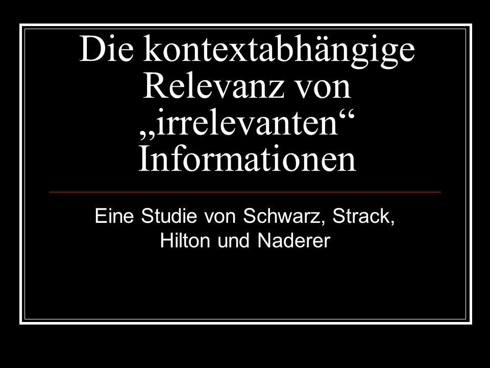 """Die kontextabhängige Relevanz von """"irrelevanten Informationen"""