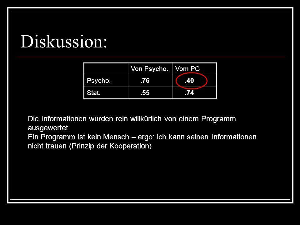 Diskussion: Von Psycho. Vom PC. Psycho. .76. .40. Stat. .55. .74. Die Informationen wurden rein willkürlich von einem Programm ausgewertet.