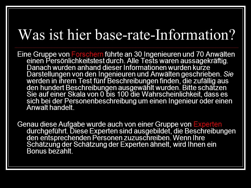 Was ist hier base-rate-Information