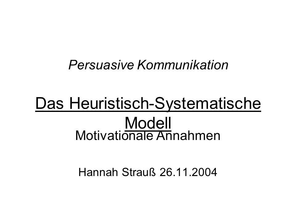 Persuasive Kommunikation Das Heuristisch-Systematische Modell