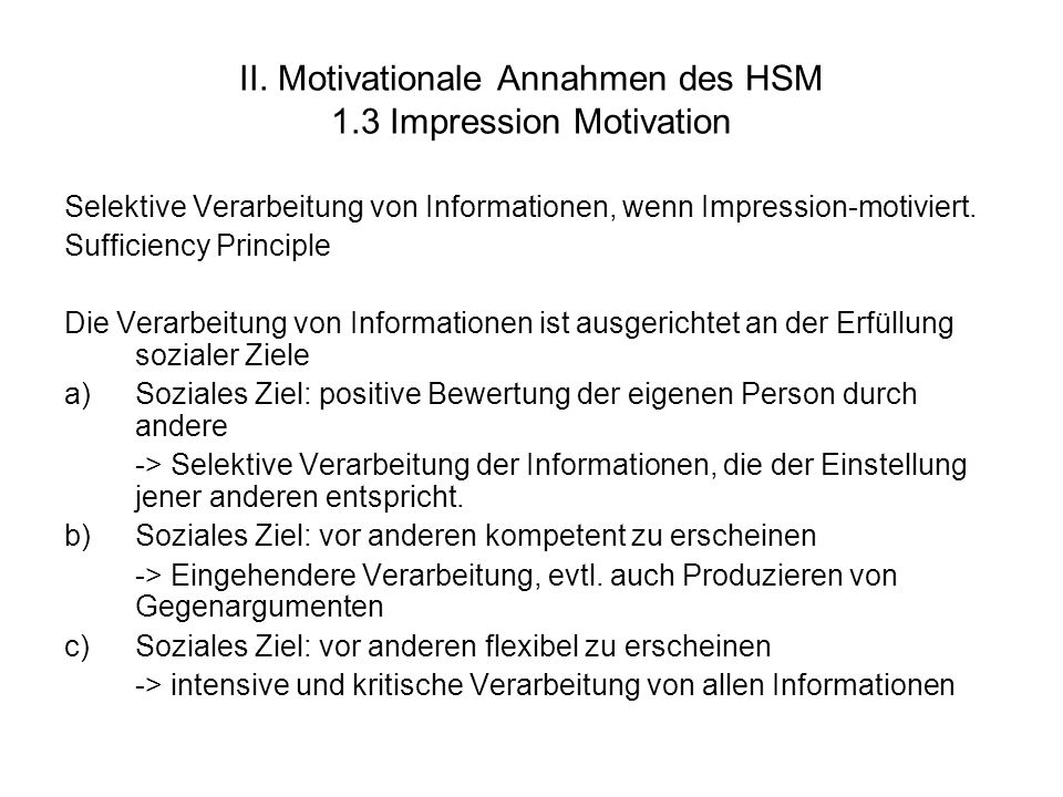 II. Motivationale Annahmen des HSM 1.3 Impression Motivation
