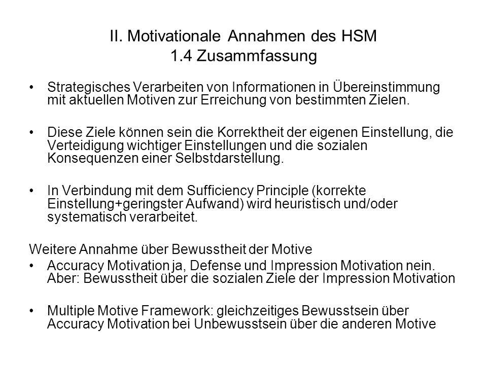 II. Motivationale Annahmen des HSM 1.4 Zusammfassung