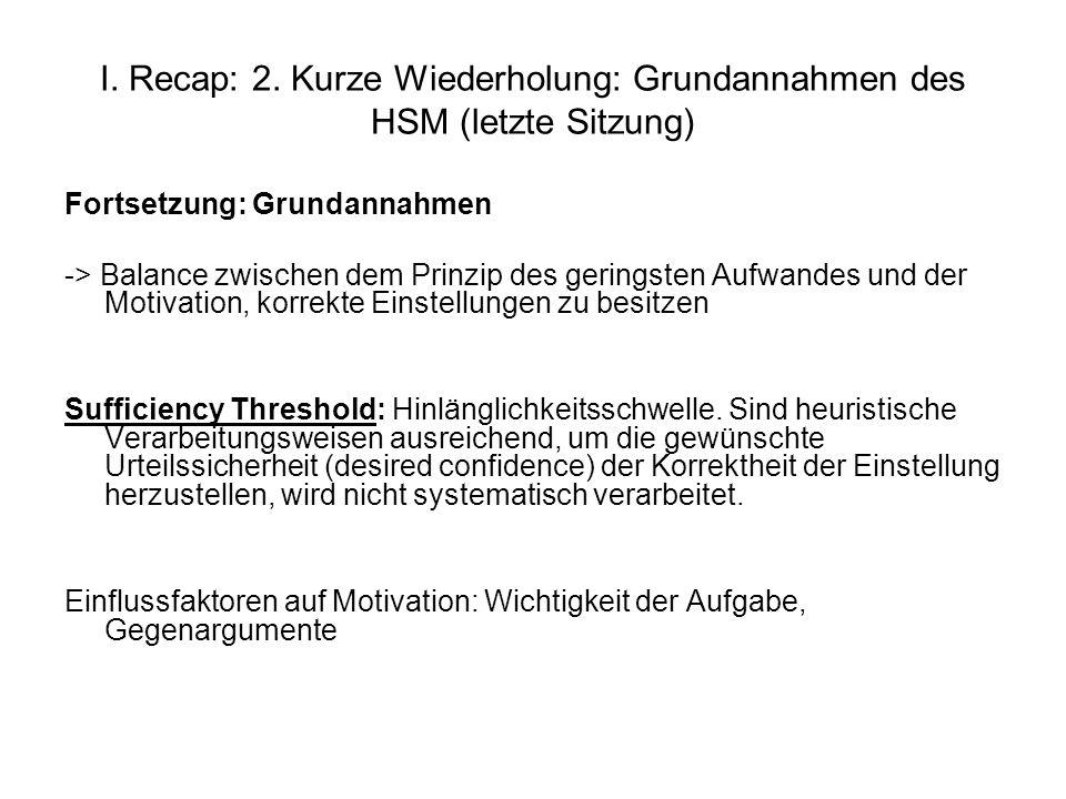 I. Recap: 2. Kurze Wiederholung: Grundannahmen des HSM (letzte Sitzung)