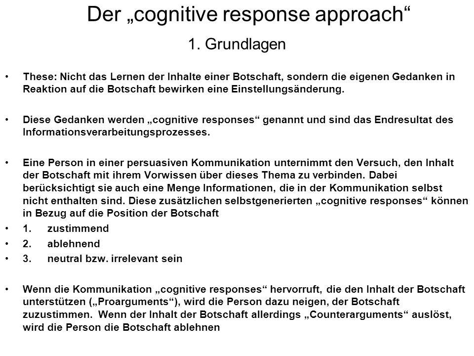 "Der ""cognitive response approach 1. Grundlagen"