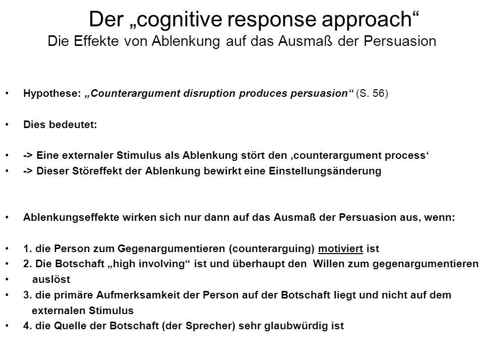 """Der """"cognitive response approach Die Effekte von Ablenkung auf das Ausmaß der Persuasion"""