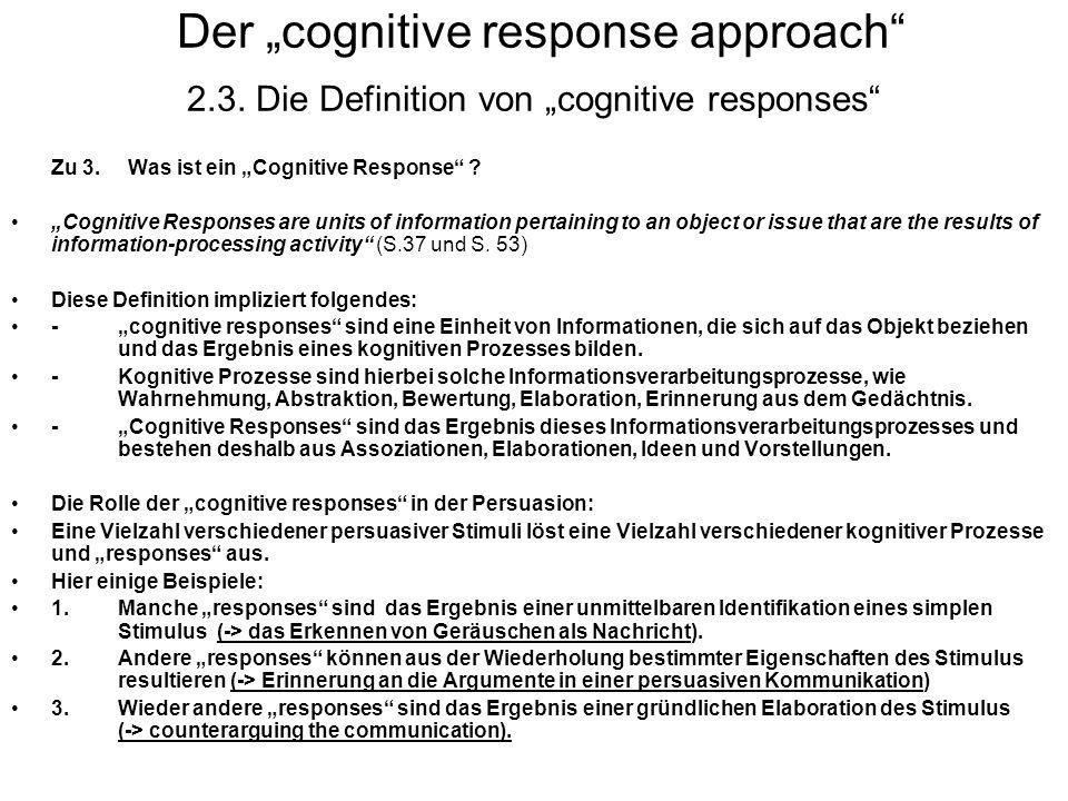 "Der ""cognitive response approach 2. 3"