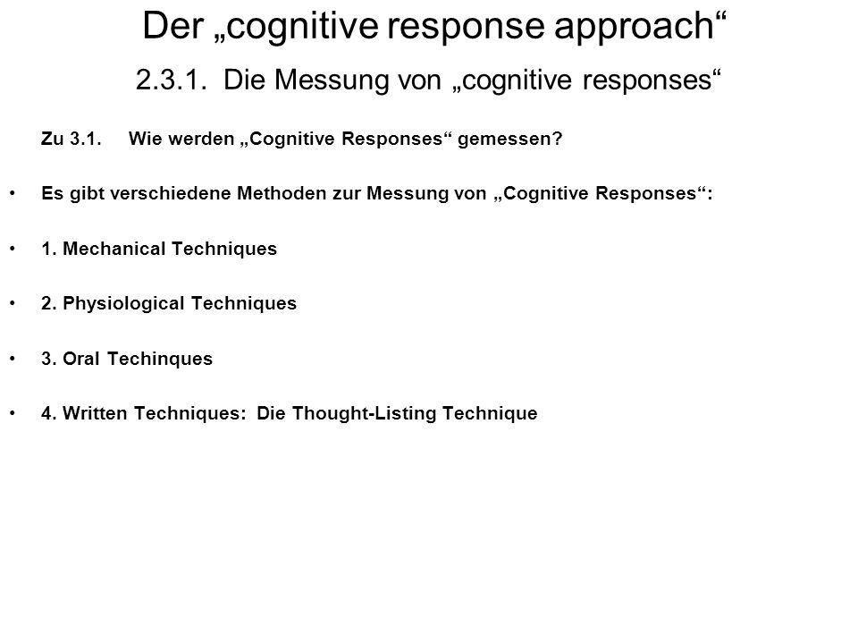 "Der ""cognitive response approach 2. 3. 1"