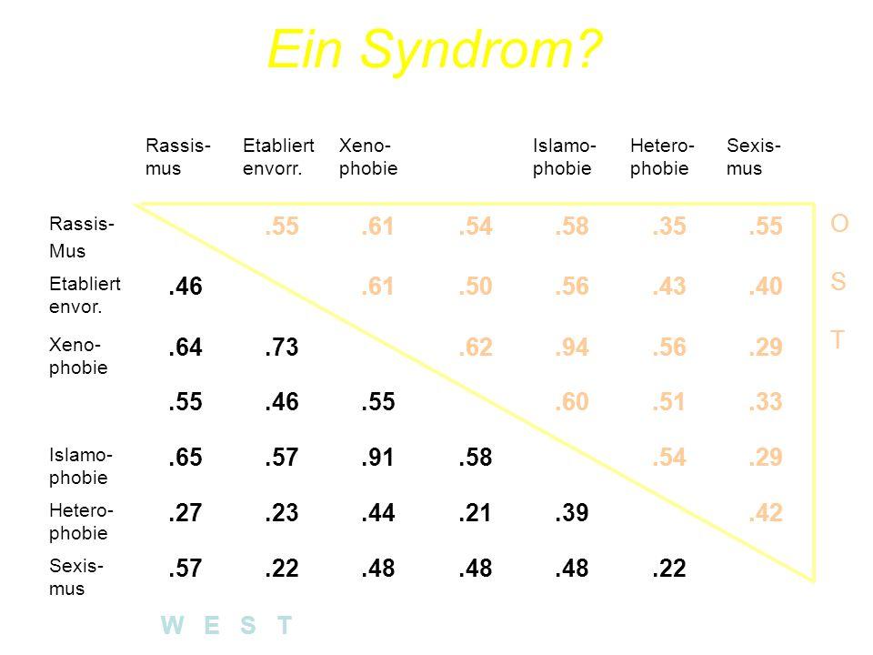 Ein Syndrom Rassis-mus. Etabliertenvorr. Xeno-phobie. Anti-semi-tismus. Islamo-phobie. Hetero-phobie.