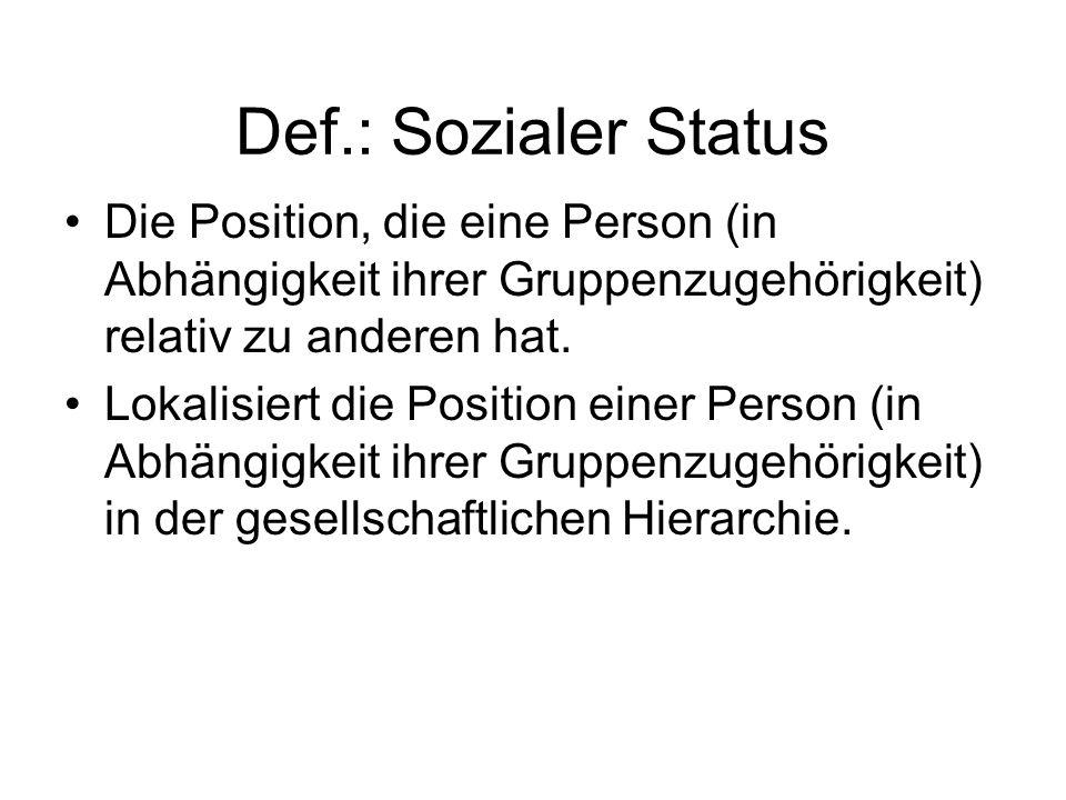 Def.: Sozialer Status Die Position, die eine Person (in Abhängigkeit ihrer Gruppenzugehörigkeit) relativ zu anderen hat.