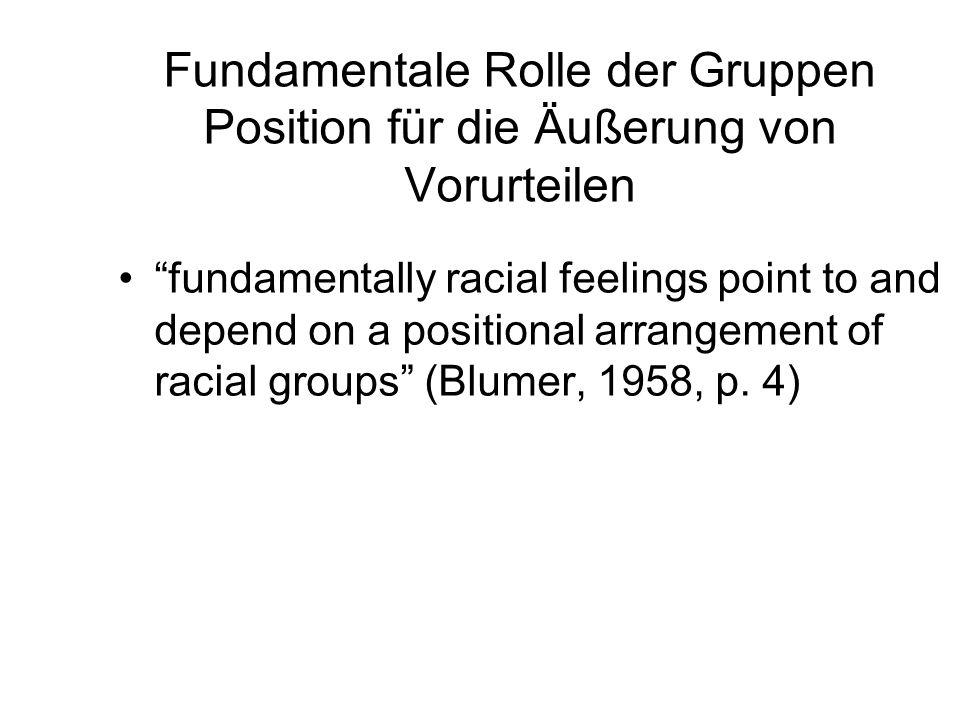 Fundamentale Rolle der Gruppen Position für die Äußerung von Vorurteilen