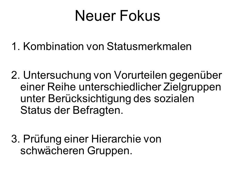Neuer Fokus 1. Kombination von Statusmerkmalen