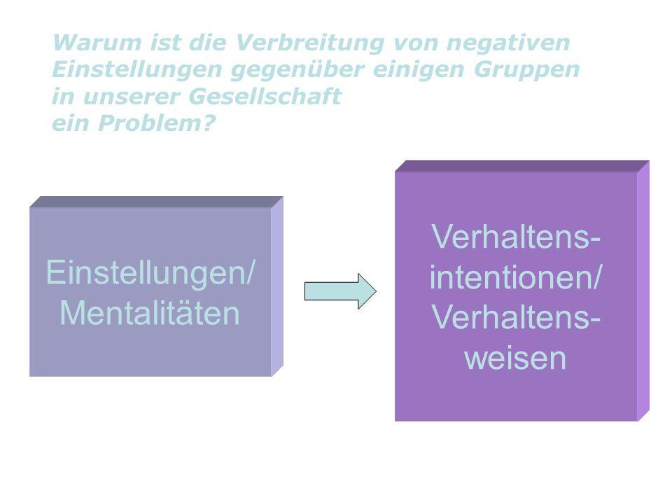 Verhaltens- intentionen/ Einstellungen/ Mentalitäten weisen