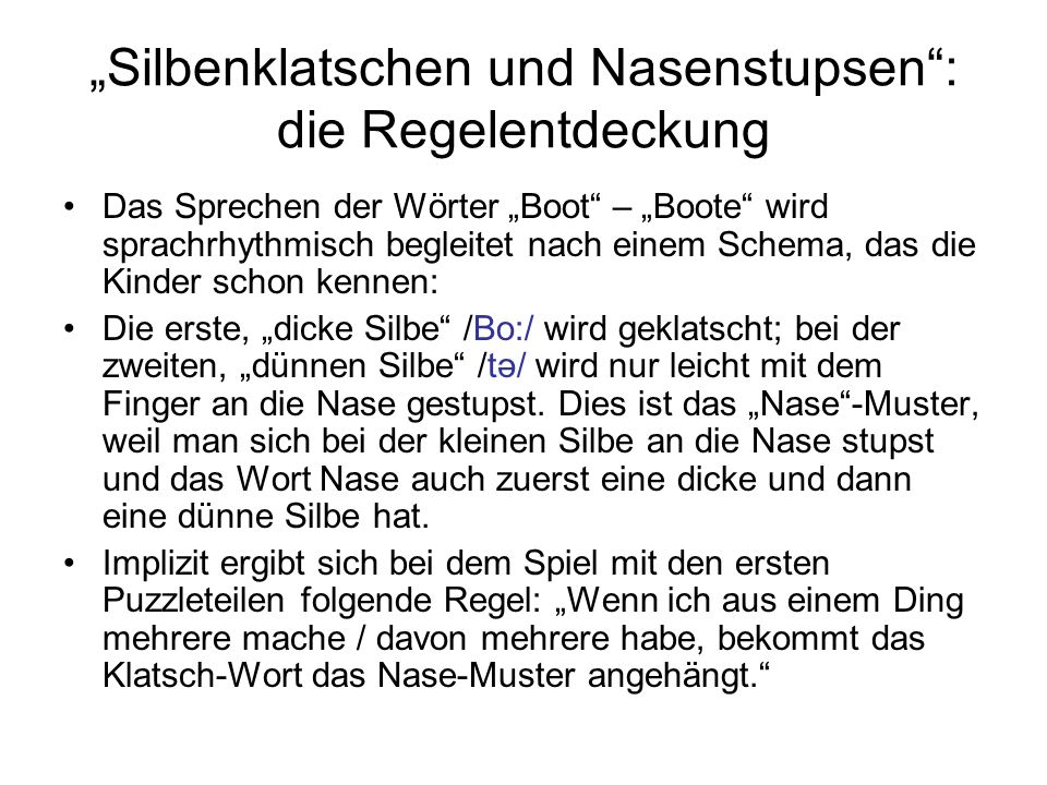 """""""Silbenklatschen und Nasenstupsen : die Regelentdeckung"""