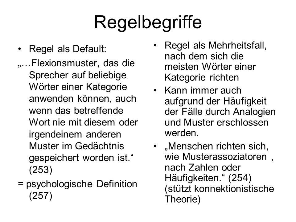 Regelbegriffe Regel als Mehrheitsfall, nach dem sich die meisten Wörter einer Kategorie richten.