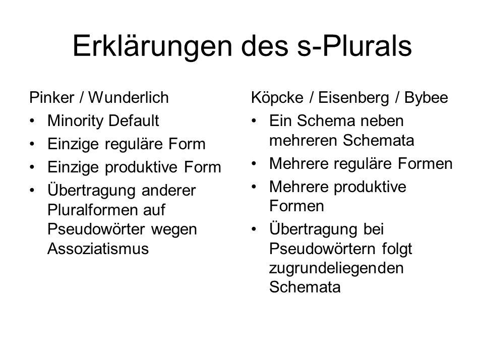 Erklärungen des s-Plurals
