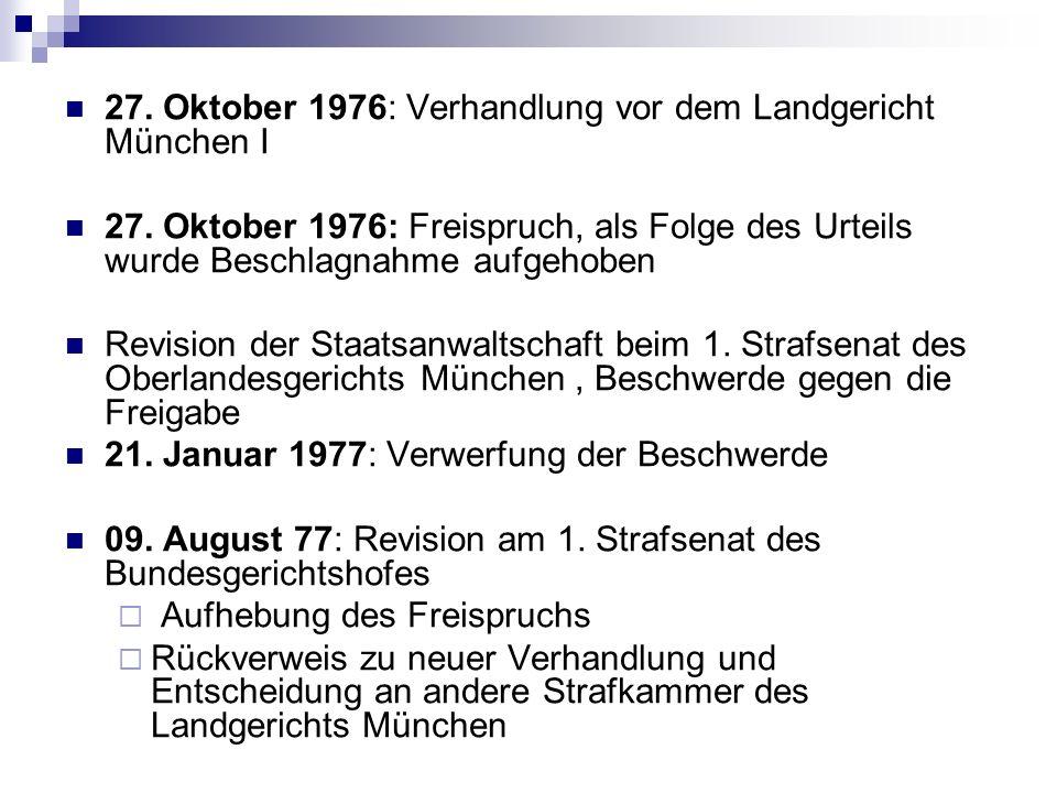 27. Oktober 1976: Verhandlung vor dem Landgericht München I