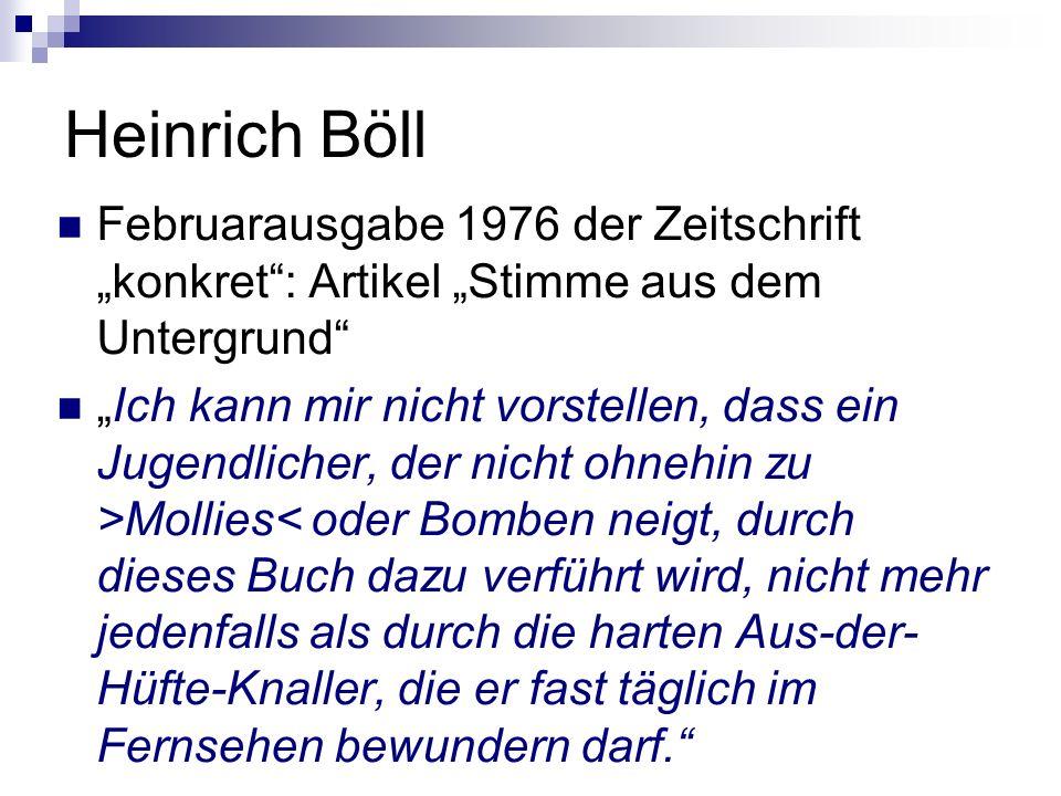 """Heinrich Böll Februarausgabe 1976 der Zeitschrift """"konkret : Artikel """"Stimme aus dem Untergrund"""