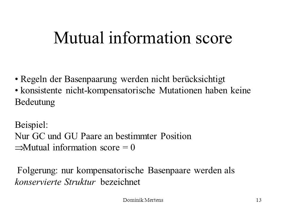 Mutual information score