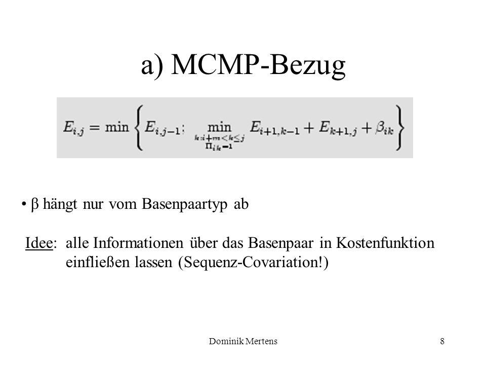 a) MCMP-Bezug β hängt nur vom Basenpaartyp ab