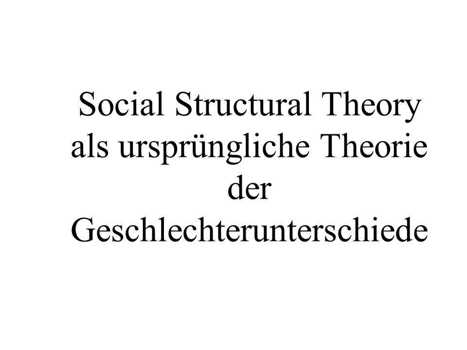 Social Structural Theory als ursprüngliche Theorie der Geschlechterunterschiede