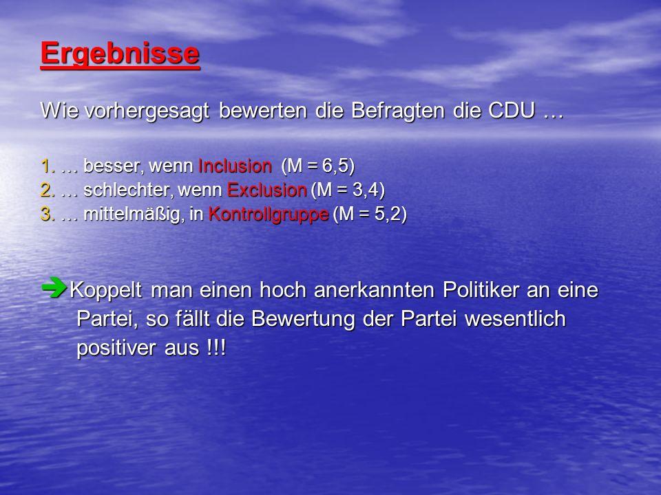 Ergebnisse Wie vorhergesagt bewerten die Befragten die CDU …