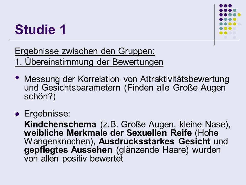Studie 1 Ergebnisse zwischen den Gruppen:
