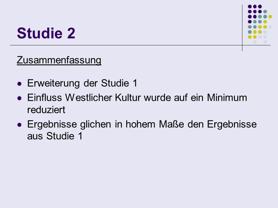 Studie 2 Zusammenfassung Erweiterung der Studie 1