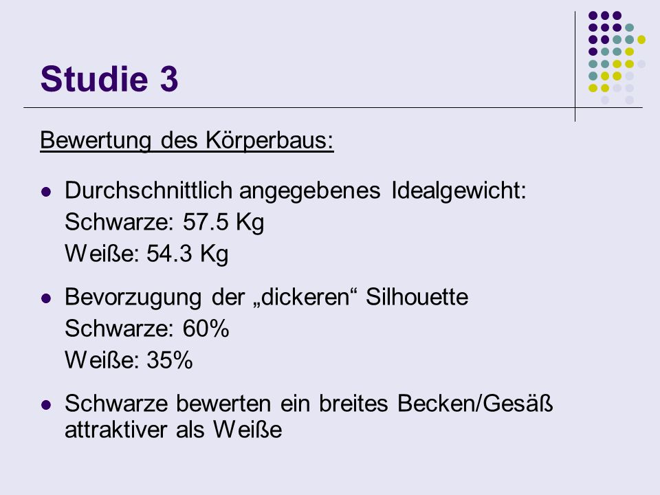 Studie 3 Bewertung des Körperbaus: