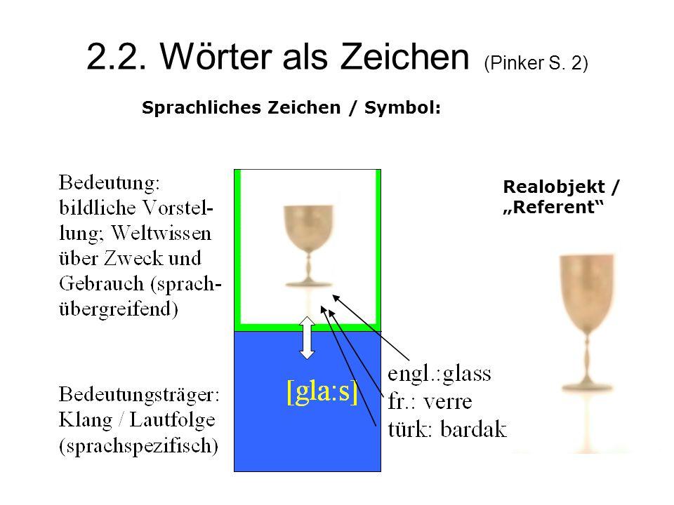 2.2. Wörter als Zeichen (Pinker S. 2)