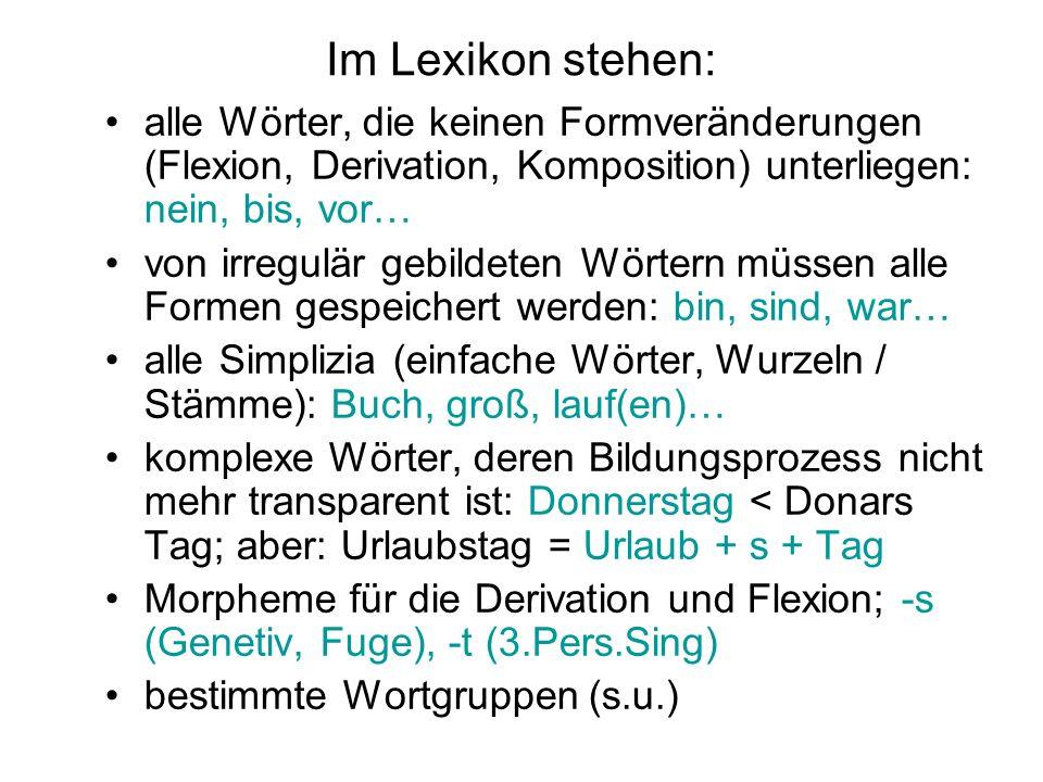 Im Lexikon stehen: alle Wörter, die keinen Formveränderungen (Flexion, Derivation, Komposition) unterliegen: nein, bis, vor…