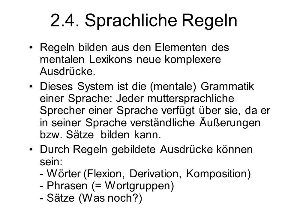 2.4. Sprachliche Regeln Regeln bilden aus den Elementen des mentalen Lexikons neue komplexere Ausdrücke.