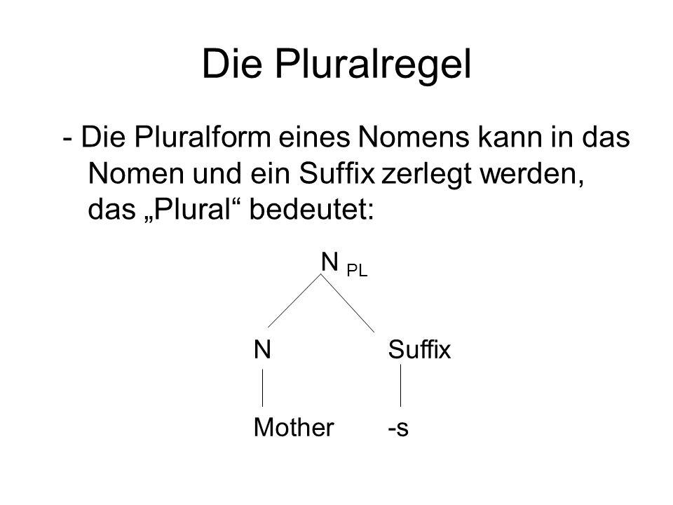 """Die Pluralregel - Die Pluralform eines Nomens kann in das Nomen und ein Suffix zerlegt werden, das """"Plural bedeutet:"""