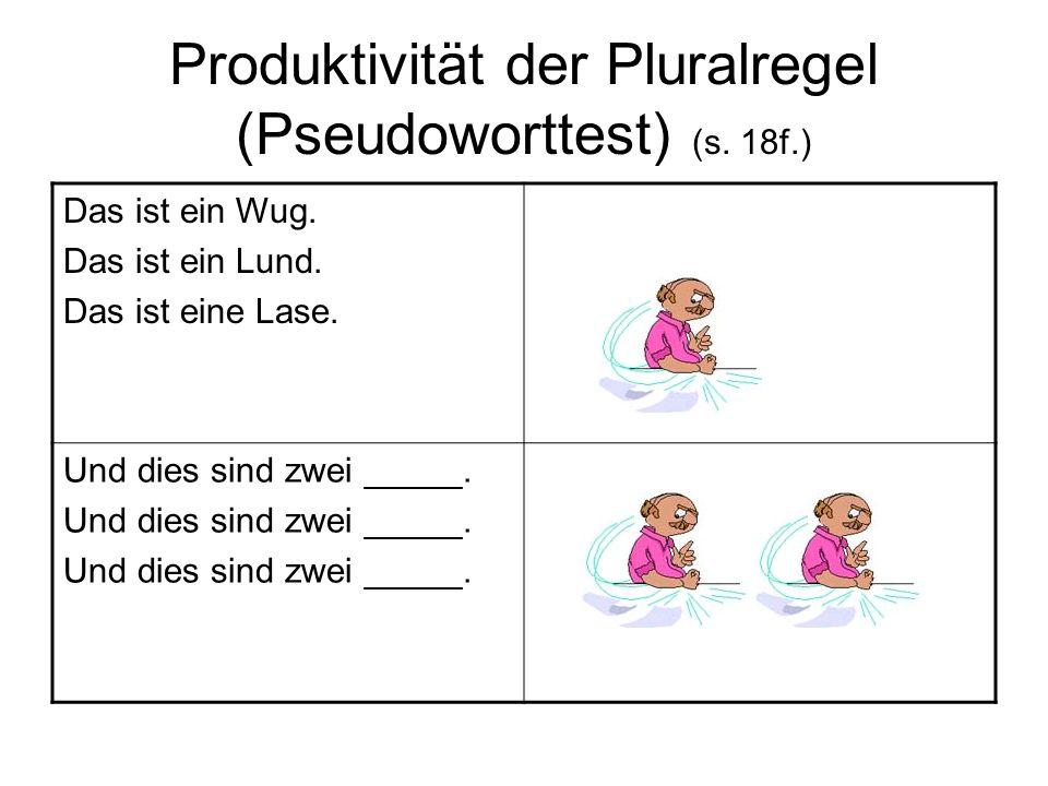 Produktivität der Pluralregel (Pseudoworttest) (s. 18f.)