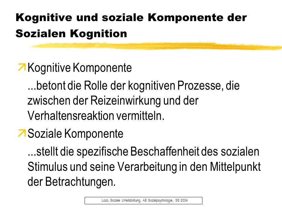 Kognitive und soziale Komponente der Sozialen Kognition