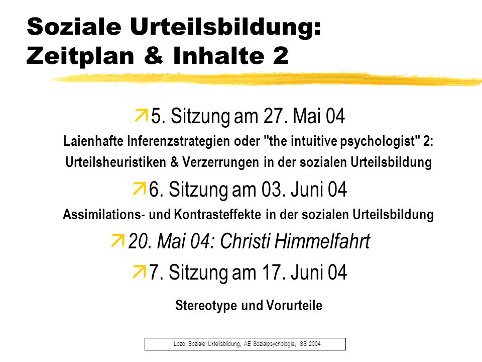 Soziale Urteilsbildung: Zeitplan & Inhalte 2