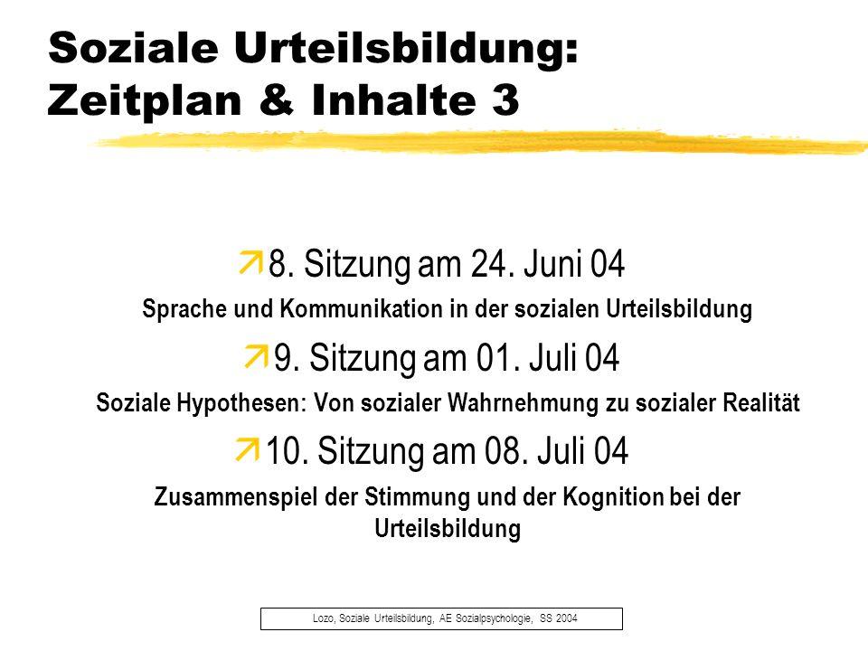 Soziale Urteilsbildung: Zeitplan & Inhalte 3