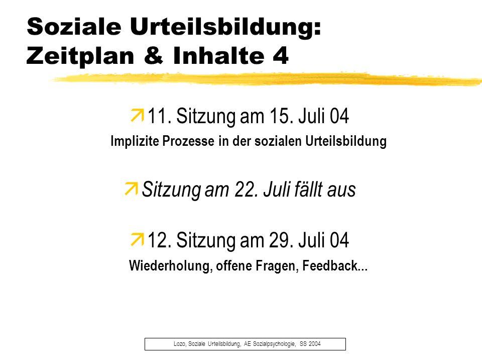 Soziale Urteilsbildung: Zeitplan & Inhalte 4
